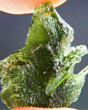 Unique Shape Natural Raw Moldavite with Certificate of Authenticity (3.23grams)