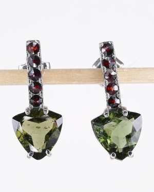 High Quality Moldavite with Elegant Red Garnets Sterling Silver Earings