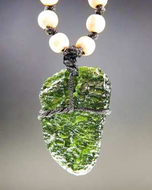 Natural Raw Moldavite Necklace with Wood Beads