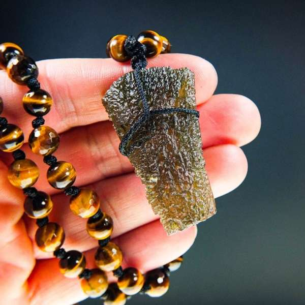 Rare Moldavite with tyger's eye beads Necklace with Certification of Authenticity (54.63grams)