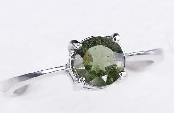 Rare Round Shape Moldavite Ring