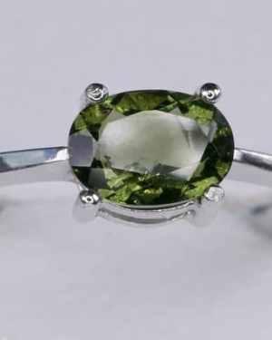 Faceted Moldavite Oval Shape (1.8grams) Ring Size: 56 (7.75 US)