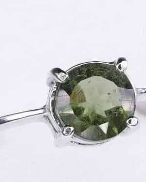 Rare Round Shape Moldavite Ring (1.5grams) Ring Size: 50 (5.38 US )
