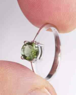 Rare Round Shape Moldavite Ring (1.5grams) Ring Size: 50 (5.38 US)