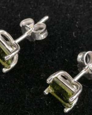 moldavite stud earrings