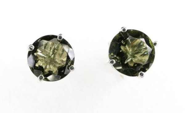Perfect Round High Quality Moldavite Faceted Stud Earrings (1.0gram)