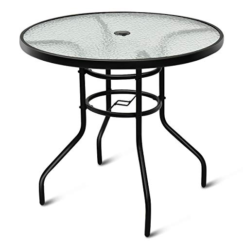 tangkula 32 outdoor patio table round steel frame tempered glass top