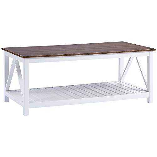 choochoo farmhouse coffee table with wood top for living room
