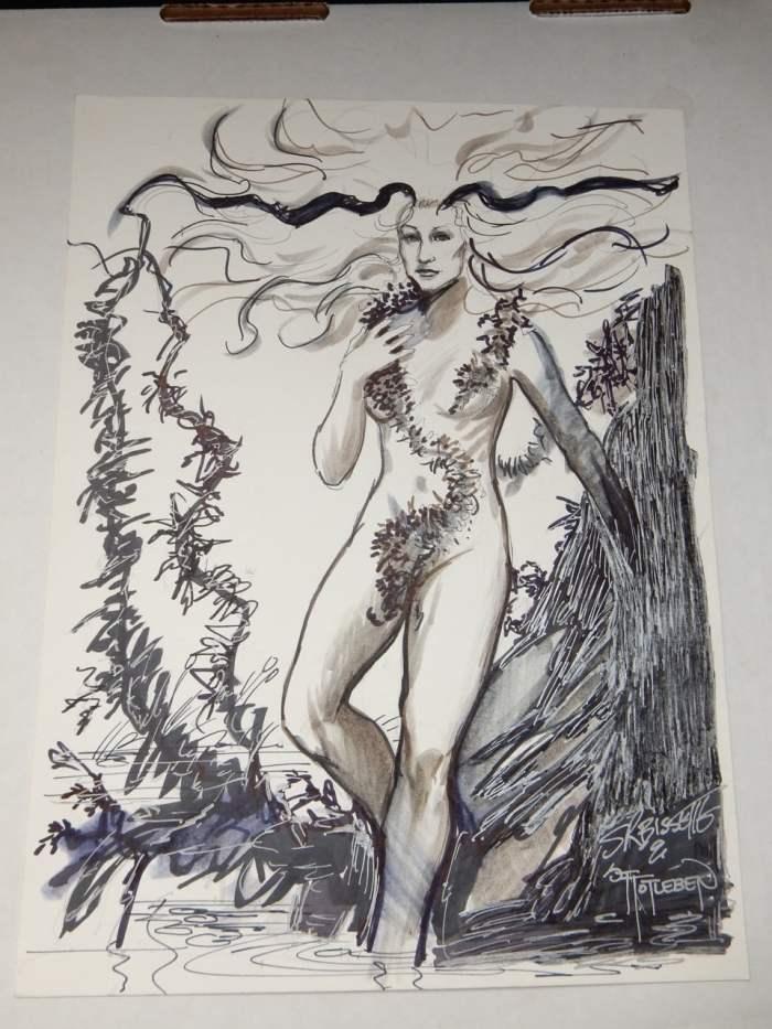 John Totleben and Steve Bissett Original Art Drawing of Abby from Swamp Thing