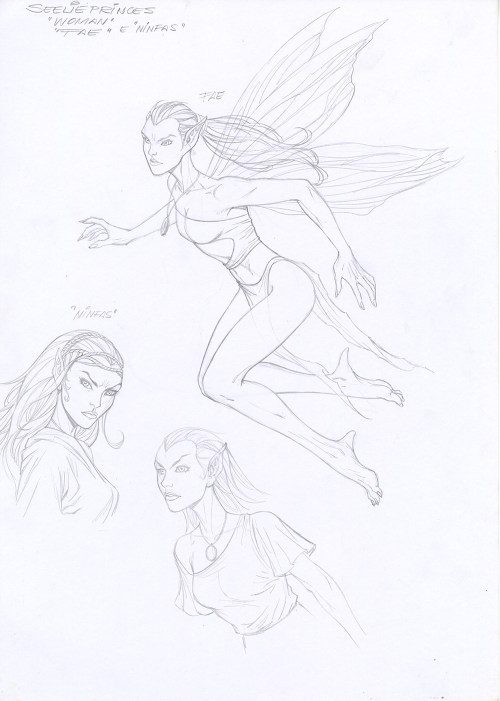 "Al Rio ""Fae"" Prelim Sketches for Karen Marie Moning's ""Fever Moon"" Graphic Novel"