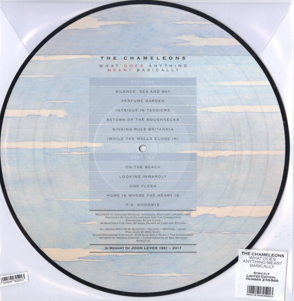 The Chameleons - What Does Anything Mean? Basically - Ltd Ed, Picture Disc, 2018