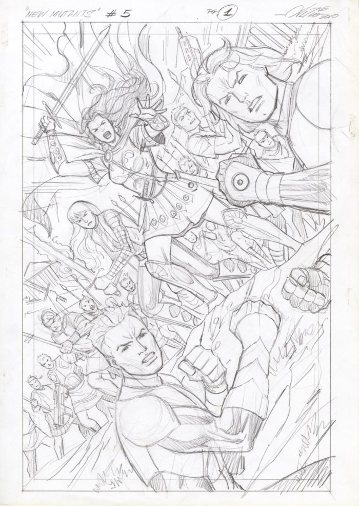 New Mutants #5 page 1 Prelim by Al Rio