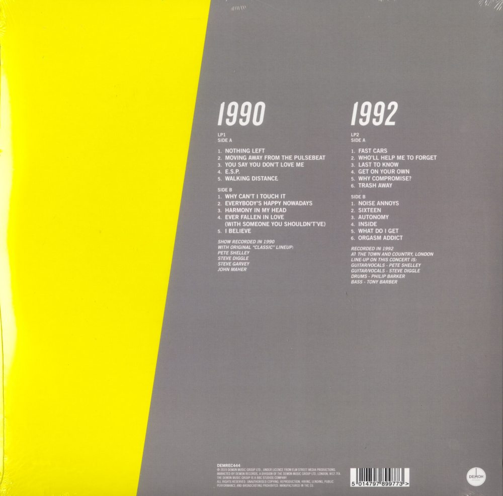 Buzzcocks - Live 1990 and 1992, Silver Colored Double Vinyl, Demon Records Uk, 2019
