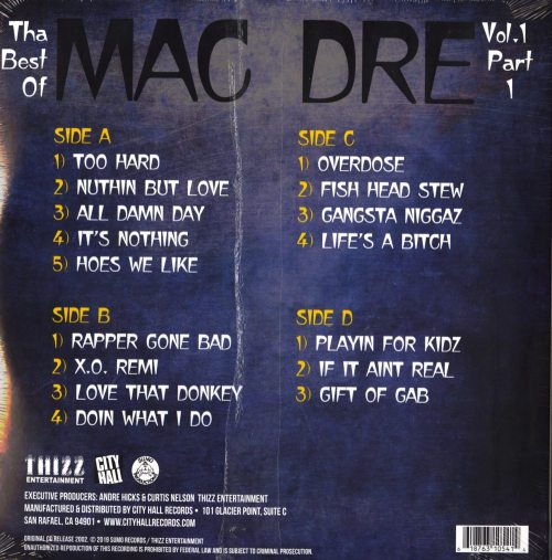 Mac Dre – Best of Mac Dre 1: Part 1 – Double Vinyl, LP, Thizz Ent, 2019