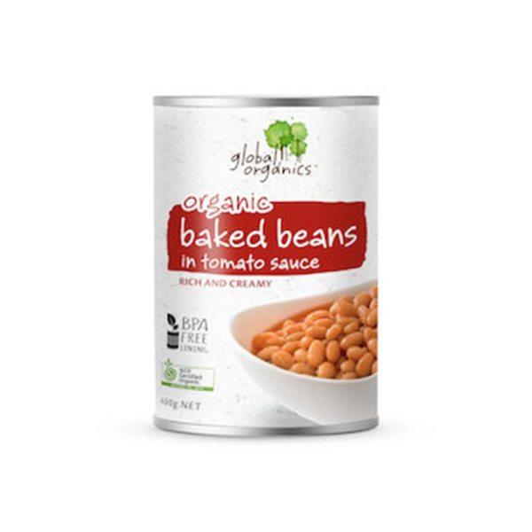 Global Organics Baked Beans In Tomato Sauce Organic 400g