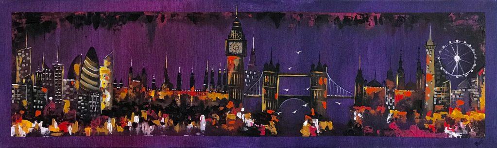 London Night Skyline Abstract Painting