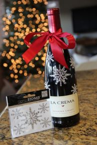 Grab a great bottle of wine (or whatever) and add some glitzy stickers and a bow to add some holiday pizazz! Great twist on a classic gift. Source