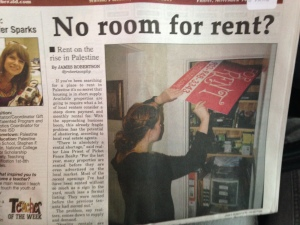 Palestine Herald Press Article about rising rents featuring an interview and front page cover with Lisa Priest.  Click to read full story.