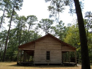 The Log Cabin at Mission Tejas State Park-- just walk right in and explore! This was from a trip in 2011.