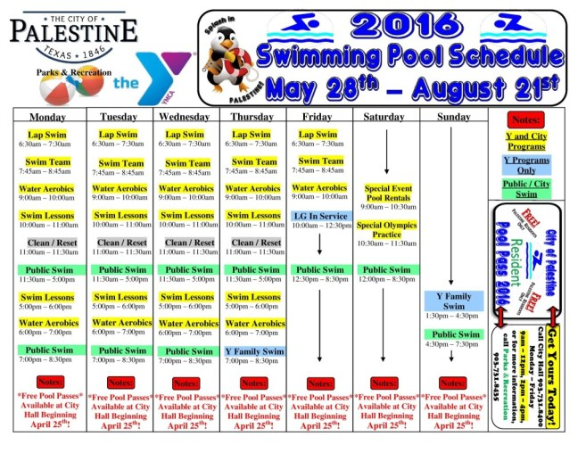 Palestine TX Swimming Pool Schedule for May 28th - August 21st, 2016