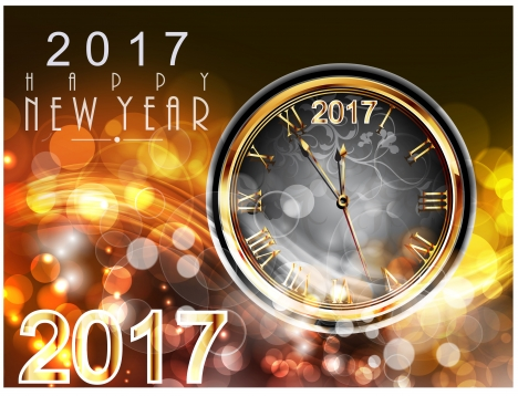 2017 new year card design with classical clock vectors stock in     2017 new year card design with classical clock