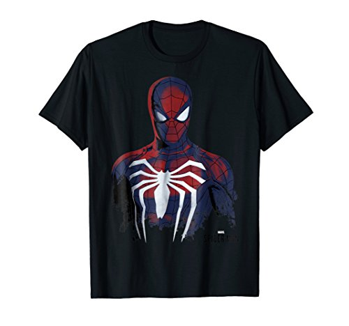 Marvel's Spider-Man Game Grunge Portrait Graphic T-Shirt