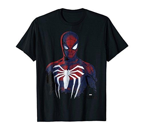 Marvel's Spider-Man Game Grunge Portrait Graphic T-Shirt
