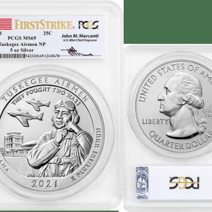 Buy tuskegee arimen national 5oz silver coin ms 69