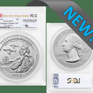 5oz silver tuskegee airmen sp70 mercanti signed