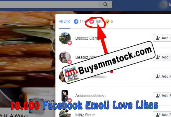 10,000 Facebook Emoij Love Likes