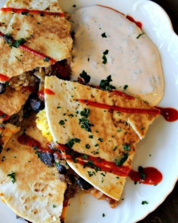 Looking for something new for breakfast? Breakfast quesadillas are perfect for families on the go, featuring simple taco ingredients and black beans.