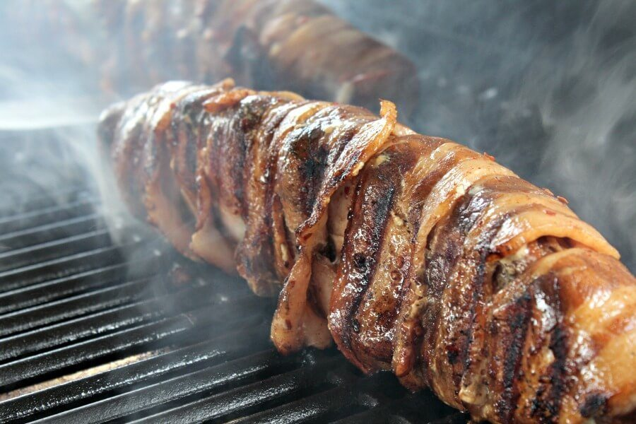 Bacon Wrapped Stuffed Pork Loin