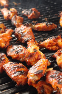 BBQ Chicken Wings on a Grill