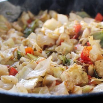 Skillet Fried Cabbage is delicious, healthy and CHEAP. Feed your brood this yummy and nutritious side dish for pennies per serving.