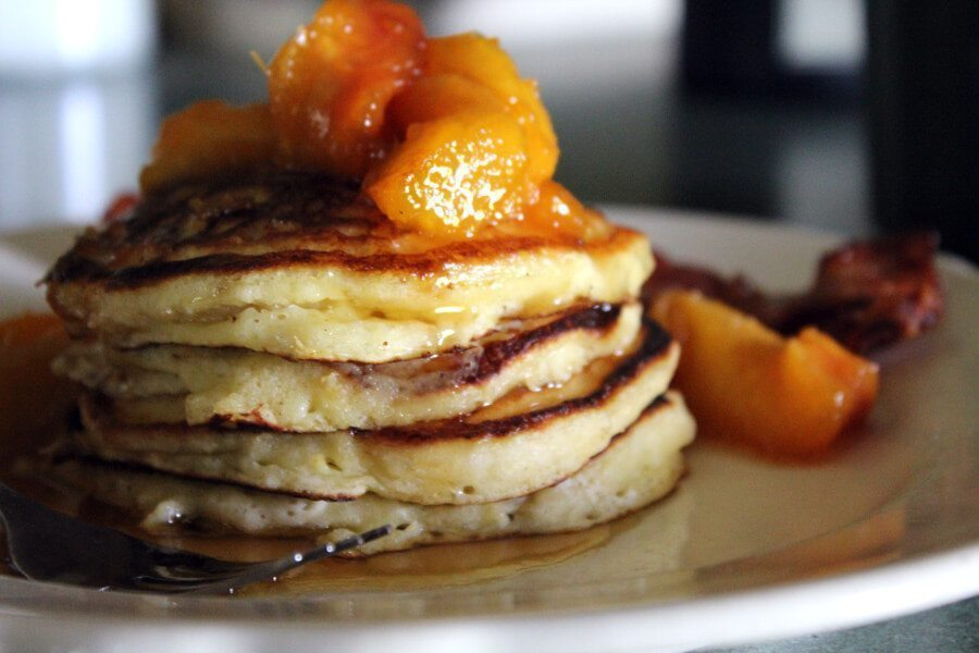 Peach Buttermilk Pancakes with Butter Brown Sugar Topping