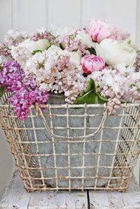 Flowers in Vintage Wire Basket