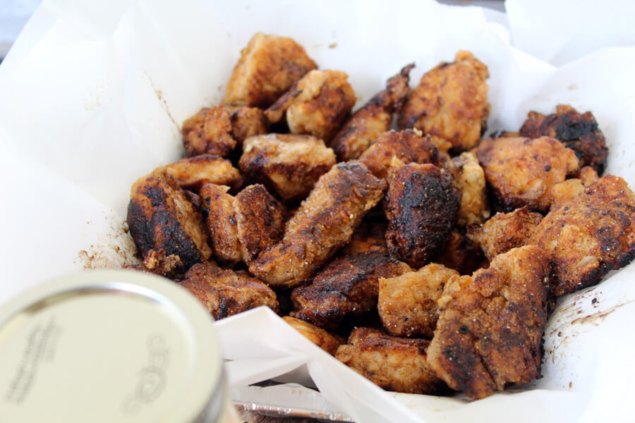 "Tender bites of chicken marinated in a spicy mix, then breaded and fried. Serve with an addictive dipping ""Swamp Sauce"" for an awesome tailgate recipe"