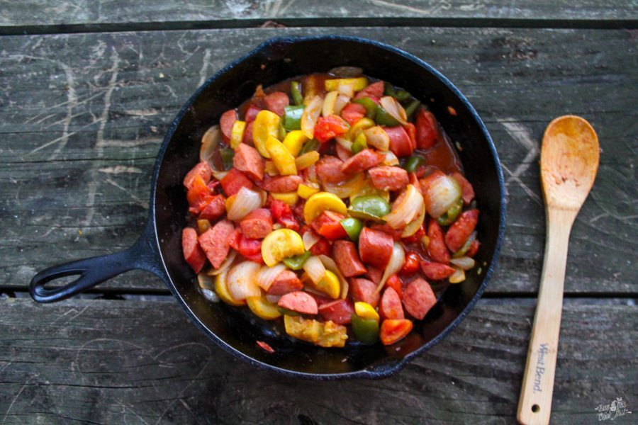 Hot Mess Skillet, one of my favorite camping recipes of all time. (Also great at home!)