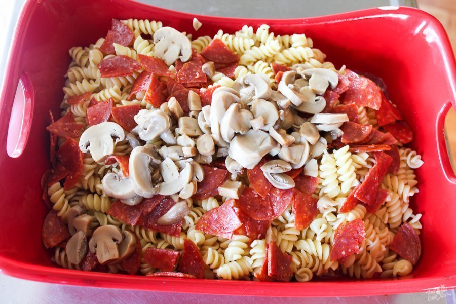 Saucy. Cheesy. Easy. Our Pepperoni Pasta Casserole is a YUM recipe your family will love. Made with ooey gooey cheese and spicy pepperoni, this is a keeper!