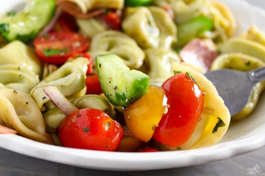 You will L-O-V-E love Balsamic Tortellini Pasta Salad. This easy pasta recipe is full of flavor and lightly dressed with balsamic vinegar and olive oil.