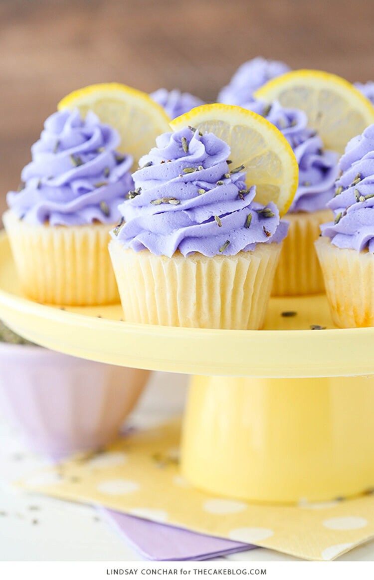 Lemon Lavender Cupcakes via The Cake Blog