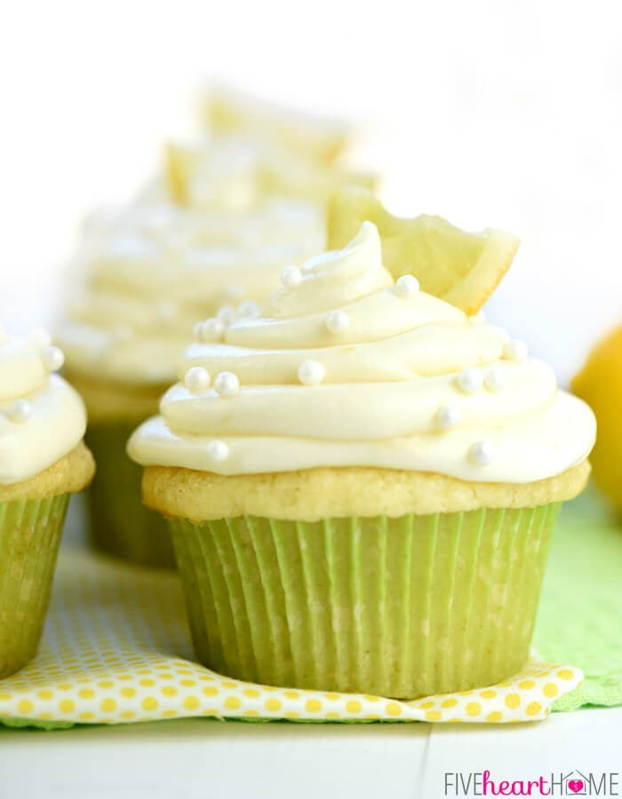 Lemon Cupcakes via Five Heart Home