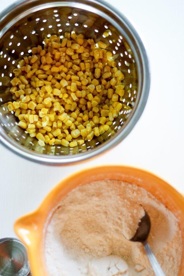 A colander of kernel corn