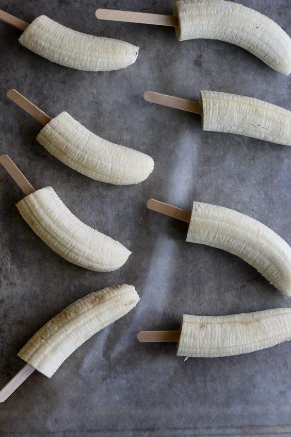 Bananas on popsicle sticks