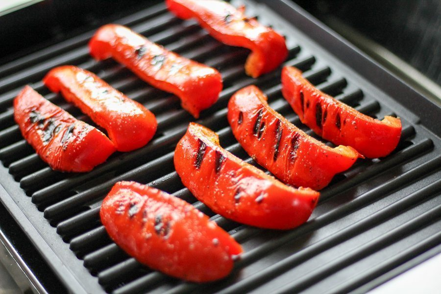 Grilled Red Peppers on the grill