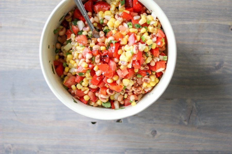 Grilled Red Pepper and Black Eyed Pea Salad