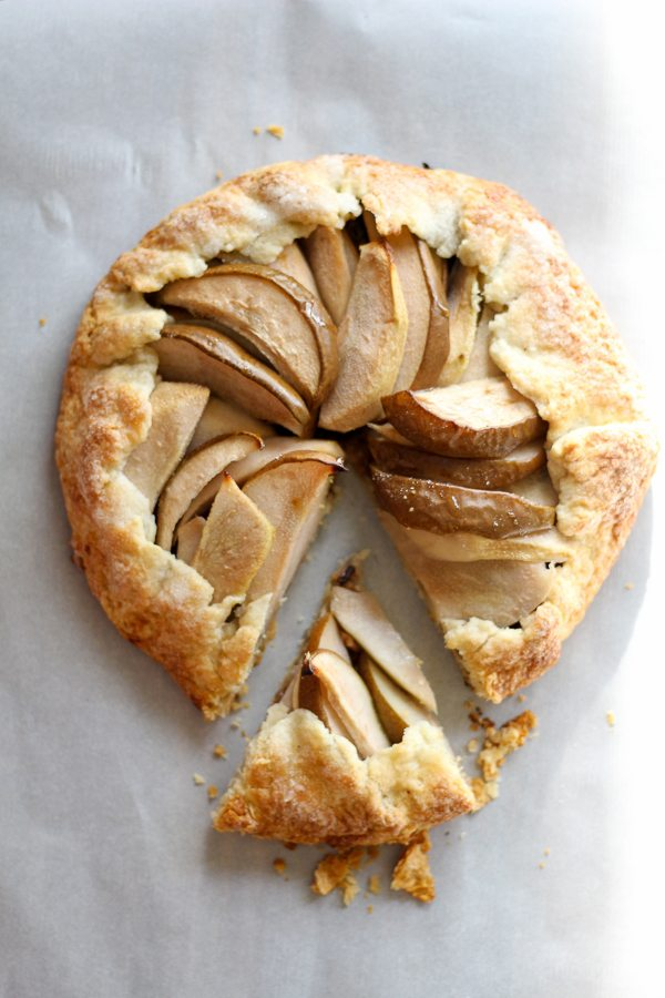 A golden baked pear galette