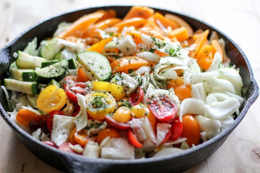 Veggie Sausage One Skillet Meal is full of fresh, healthy vegetables