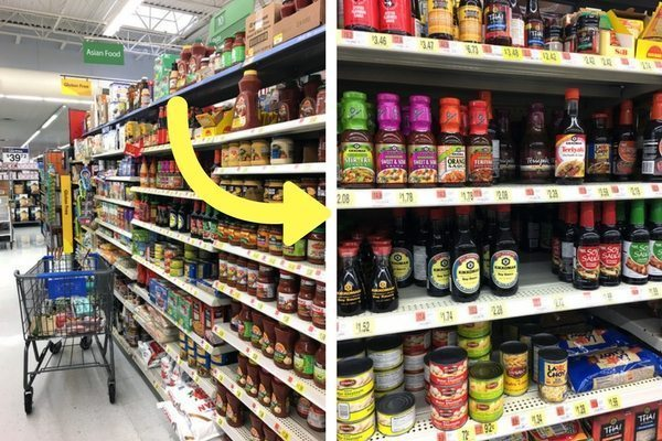 Asian food section at local grocery store