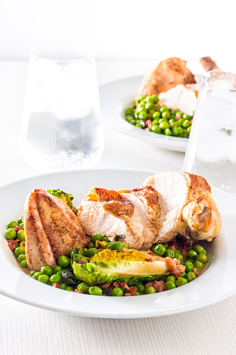 Weeknight Dinner Recipes Petit Pois a la Francais with Roast Chicken Breast by Krumpli